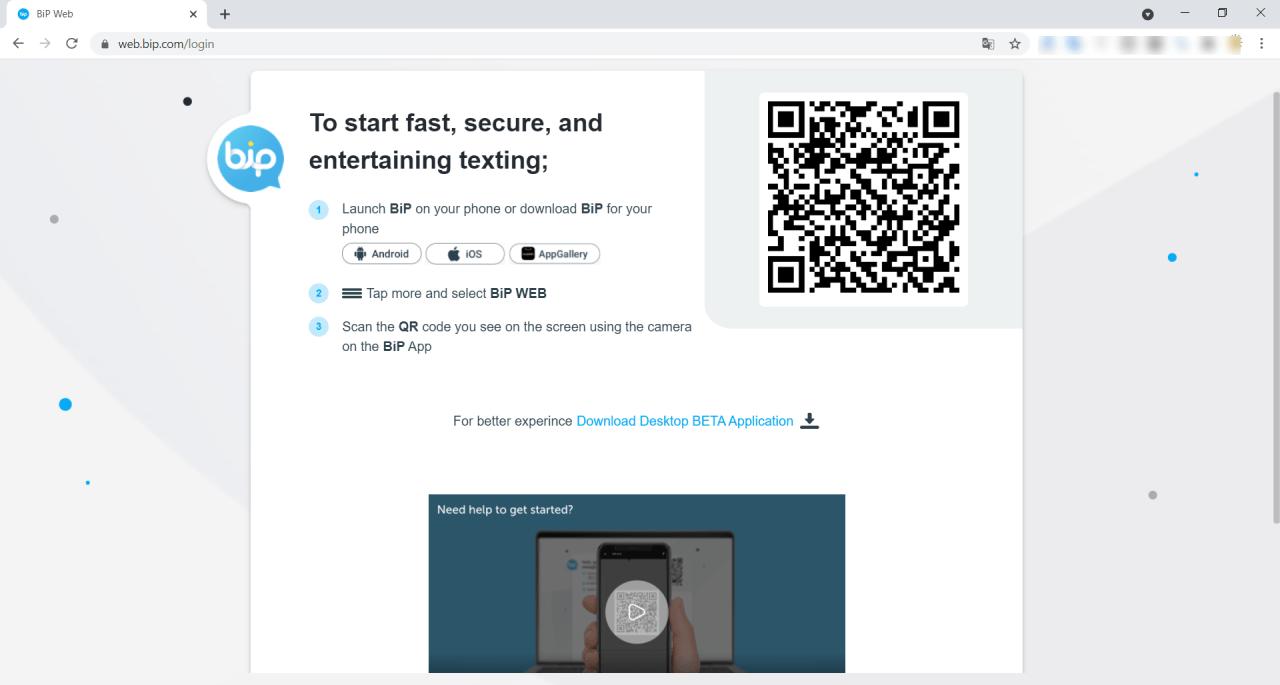 bip web login page qr code scan